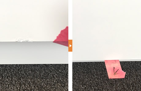 タイルの欠けた箇所を平らにリペアしました。